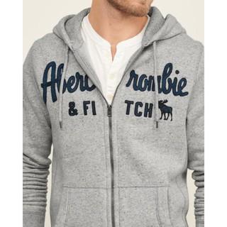 美國百分百【Abercrombie & Fitch】外套 AF 連帽 夾克 帽T 麋鹿 棉質 男款 上衣 灰色 G244 新北市