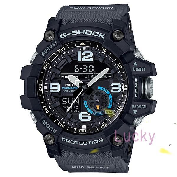 CASIO卡西歐G-SHOCK 雙傳感器 全方位防塵泥 休閒運動錶 (灰帶藍圈) GG-1000-1A8