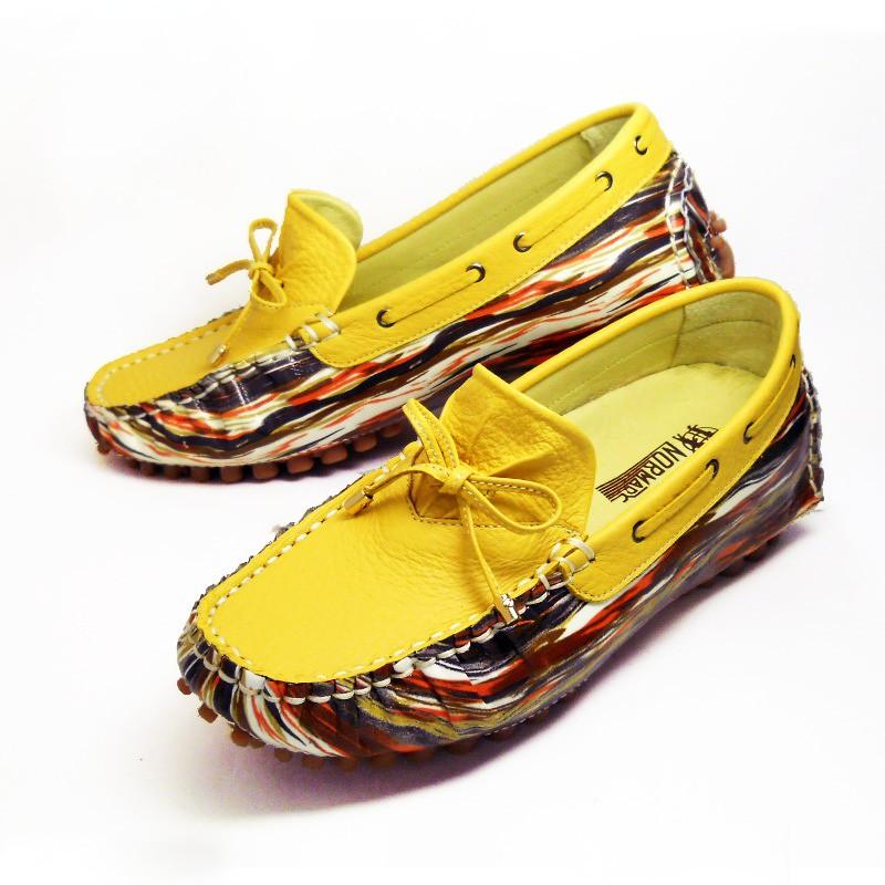 【諾曼地MIT鞋履】專利磁石增高5公分-藝術花采牛皮豆豆增高鞋-黃色