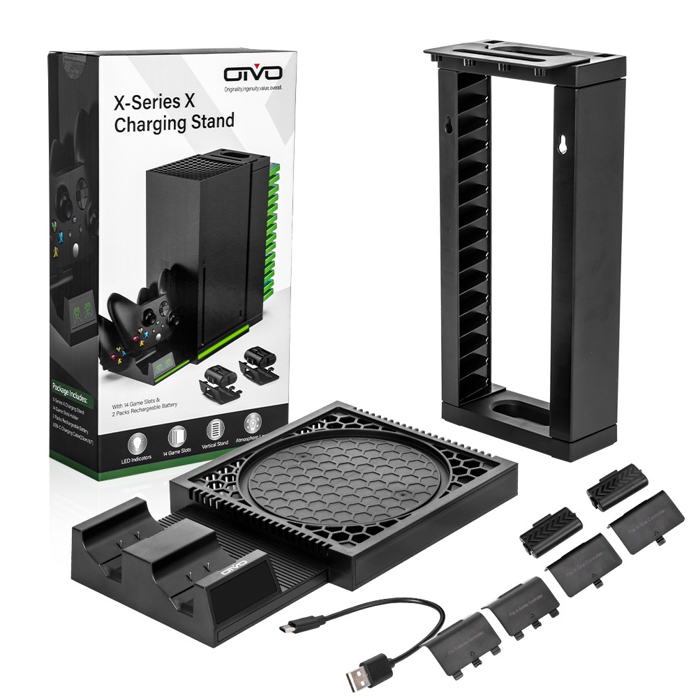 OIVO新品Xbox Series X主機支架Xbox手柄雙充底座帶卡碟收納碟架