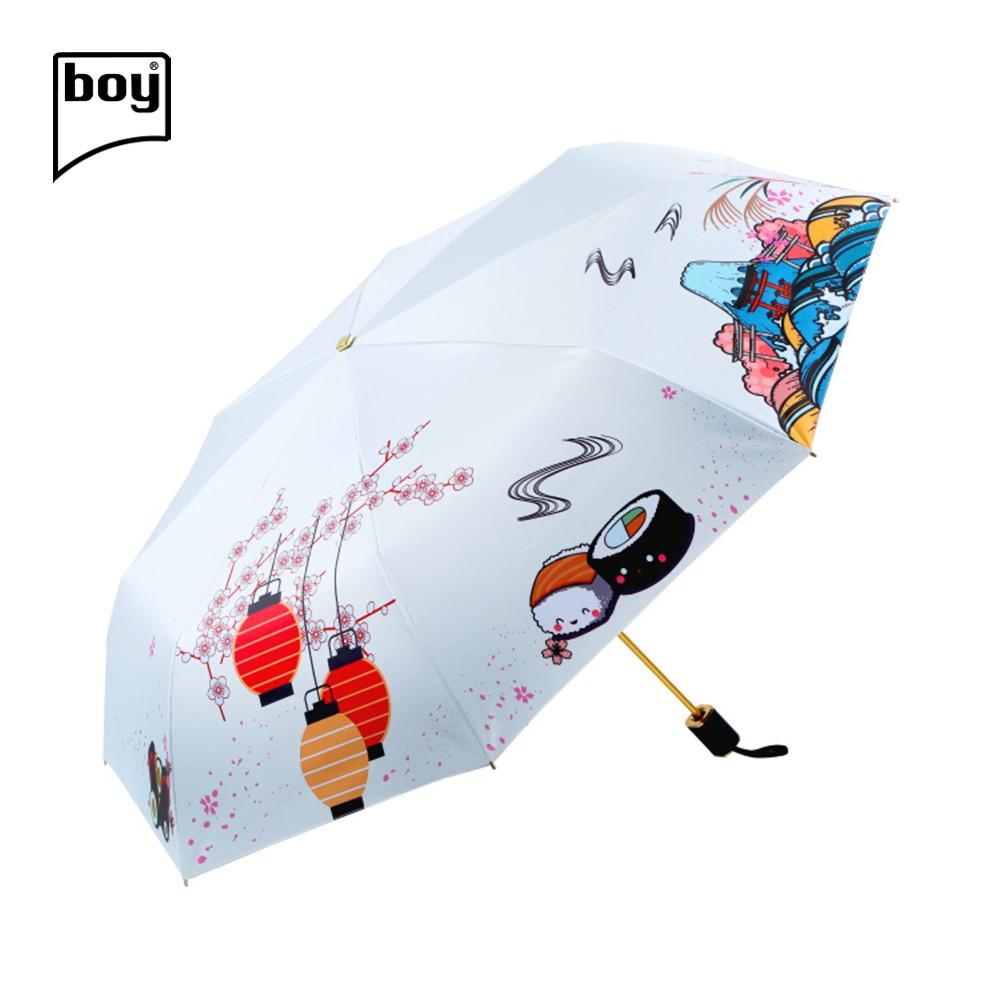 【德國boy】三折超輕黑膠防曬防潑水晴雨傘(富士白雪)