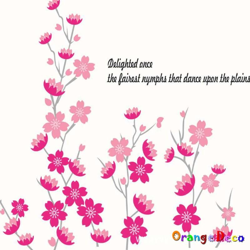 【橘果設計】粉紅花草 壁貼 牆貼 壁紙 DIY組合裝飾佈置