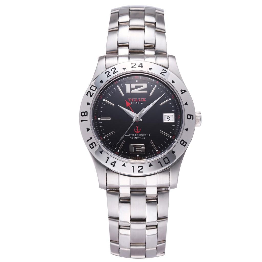 台灣品牌手錶腕錶【TELUX鐵力士】英倫運動風紳士男腕錶37MM台灣製造石英錶7755W-BK 黑