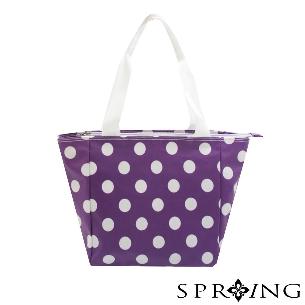 SPRING-防潑水超輕量日式圓點手提包-甜甜紫