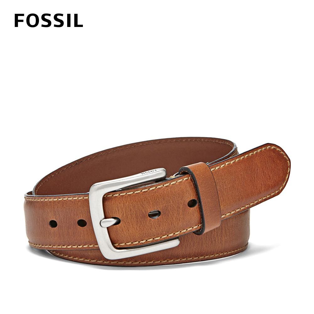 FOSSIL Aiden 經典縫線真皮皮帶 棕色 MB1255200