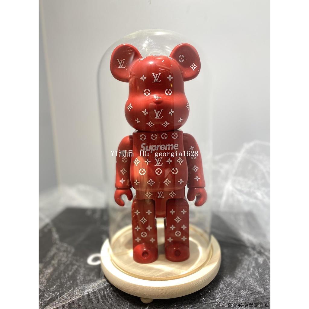 bearbrick 400%積木熊 supreme&lv紅 暴力熊擺件公仔