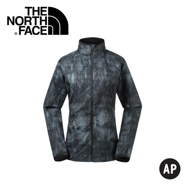 【The North Face 美國 女 防風防潑水外套《黑色印花》】3GEJ/防潑水/印花/外套/風衣/休閒/悠遊山水