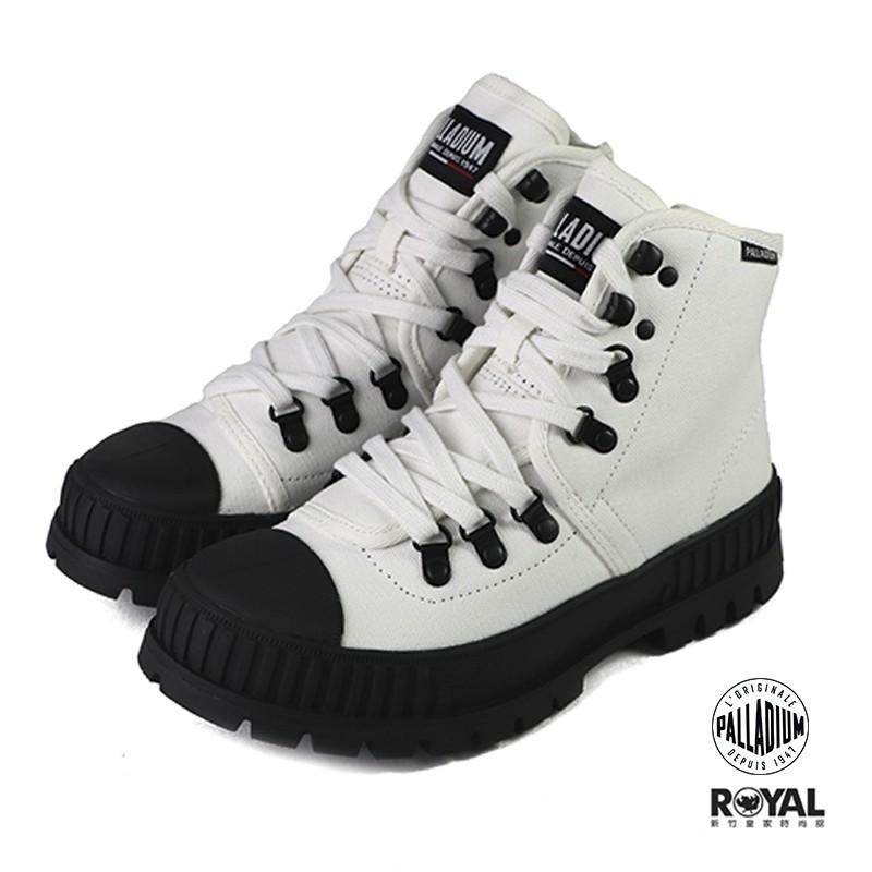 Palladium Pallashock 白色 帆布 側拉鍊 增高5CM 休閒鞋 女款 NO.B1622【新竹皇家】