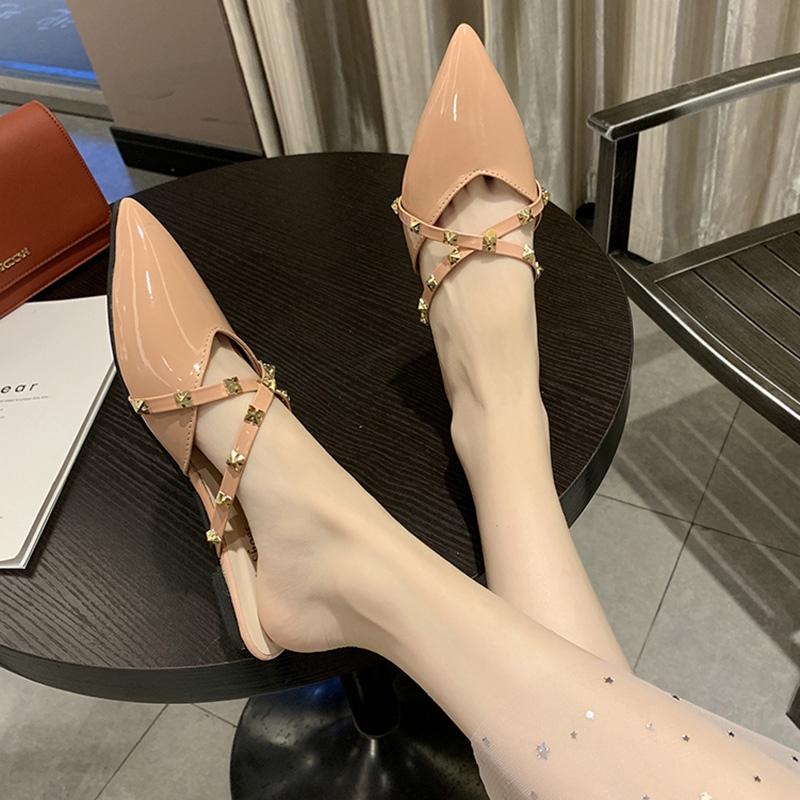 2020新款女夏外穿涼拖時尚網紅包頭穆勒鞋平底尖頭鉚釘懶人半拖鞋