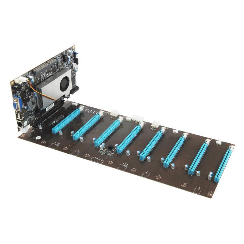現貨 8卡直插主板 8卡1拖 8 pci-e插槽主機板 顯卡直插式挖礦主板 可插 Rx470 RX480 RX 580