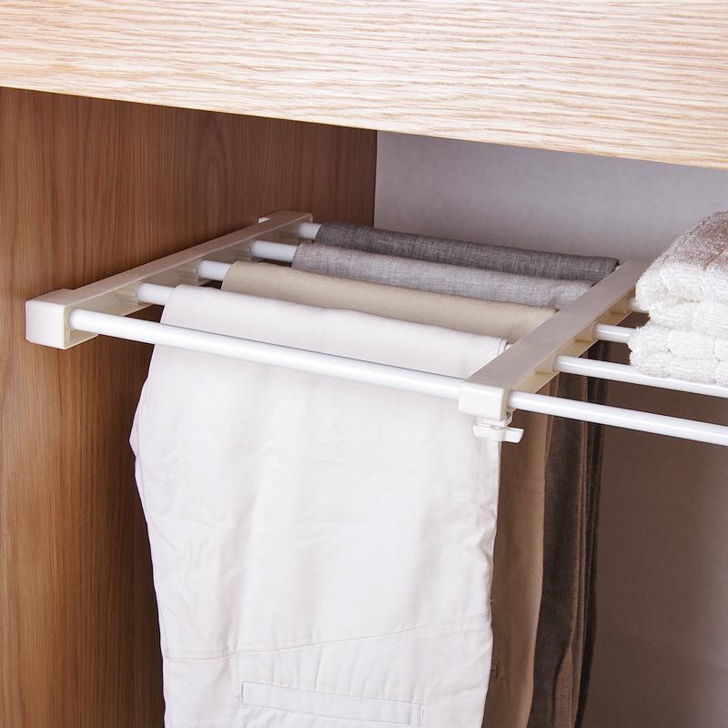 可伸縮分層衣柜收納架 廚房免打孔整理架 櫥柜隔層衣櫥免釘置物架
