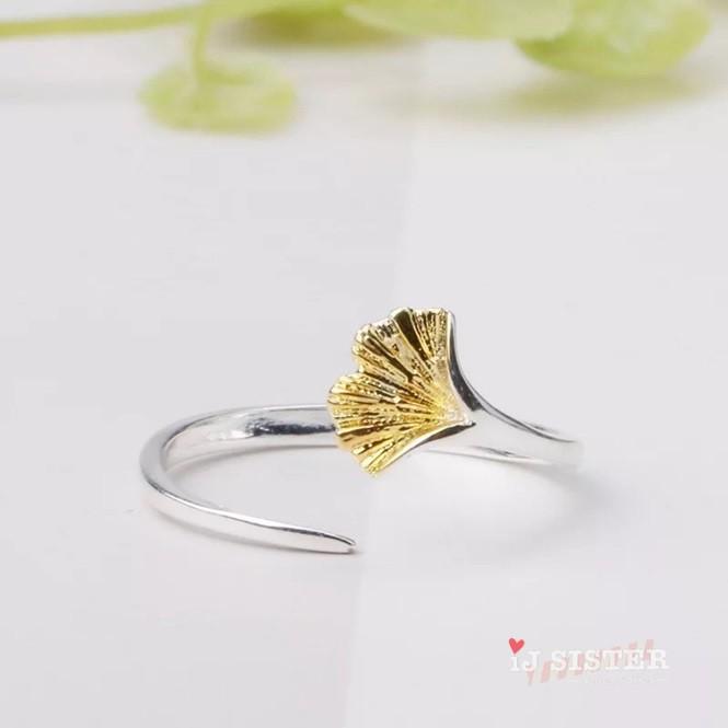 銀杏系列 銀杏 葉子 金色 珍珠 森林系 防過敏 簡約 高雅 戒指