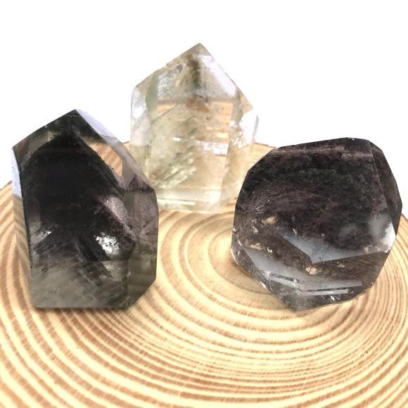 『晶鑽水晶』天然綠幽靈 彩幽 水晶柱 招財 幻影水晶 異象水晶 高淨度1-3號
