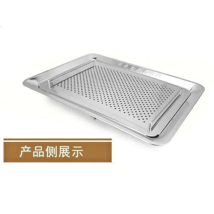 促銷❤套裝304不銹鋼茶盤長方形帶排水茶池家用加厚功夫茶臺茶托盤