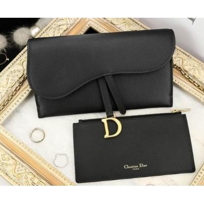 二手正品  Dior Wallet On Chain 黑色復古牛皮馬鞍金色鍊帶長夾  零錢包  手拿包