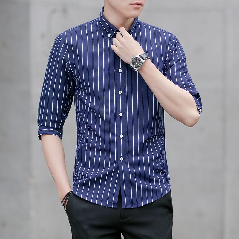 條紋七分袖襯衫 男士韓版修身襯衣 爆款!