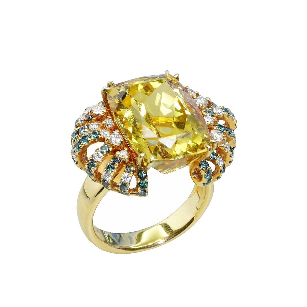 黃18K金天然金黃綠柱石鑽石戒指  基隆克拉多