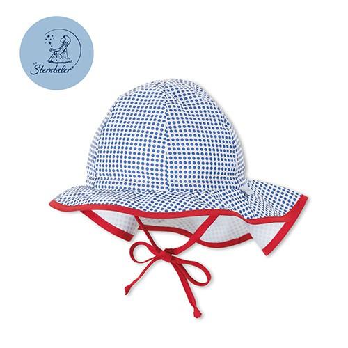 德國STERNTALER 抗UV護頸遮陽童帽-藍點(43-53cm) C-1411615-345