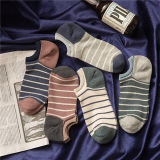 純棉時代 9040  條紋男士吸汗透氣船襪    百搭學院風男短襪
