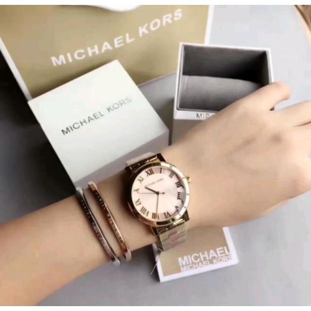 e4b033731df7 日本銀座代購Michael Kors MK6405古典晶鑽矽膠不鏽鋼錶帶腕錶MK手錶/免運/保固| 蝦皮購物