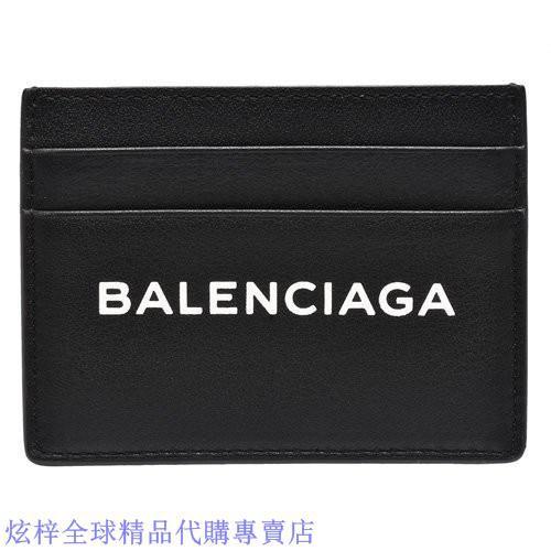 BALENCIAGA EVERYDAY LOGO小牛皮信用卡/名片夾(黑色)490620-DAQ4N-1000
