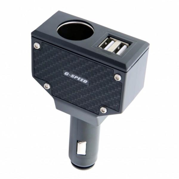 車之嚴選 cars_go 汽車用品【PR-50】碳纖紋3.2A雙USB+單孔 點煙器直插式90度可調電源插座擴充器