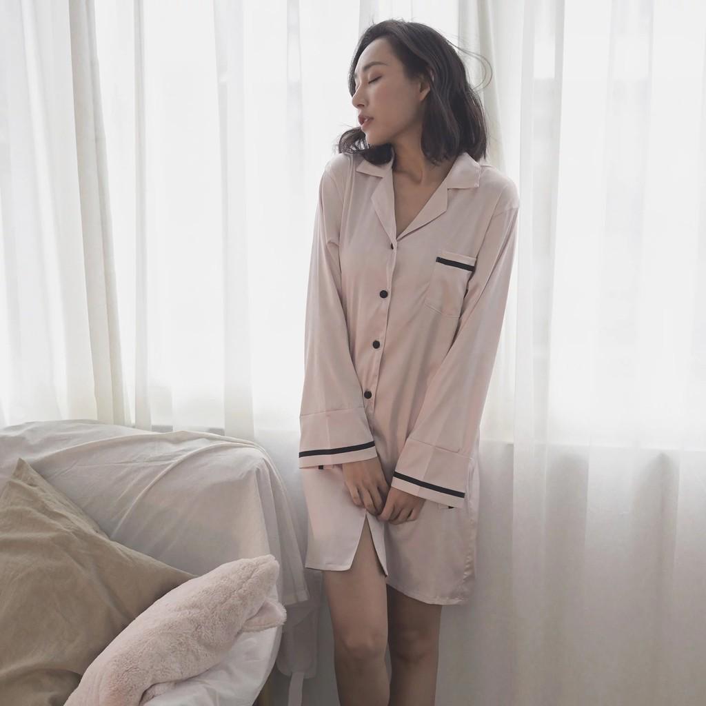[Sleepy me] 時尚撞色設計長版襯衫睡裙(淡粉)
