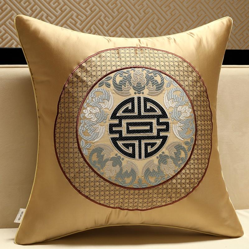 新中式抱枕靠墊紅木古典刺繡抱枕圈椅皮腰靠枕床頭靠背含芯定制