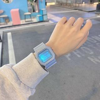 霧霾藍顯白方塊獨角獸電子手錶Ins初中學生韓版簡約馬卡龍手錶女 手錶男卡西歐手錶電子錶男