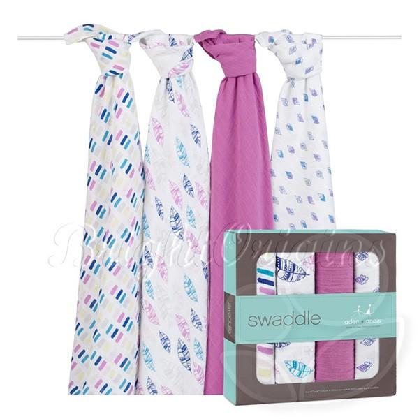 美國 aden+anais 輕鬆抱寶寶包巾(4入)-紫色秋天款2053【佳兒園婦幼館】