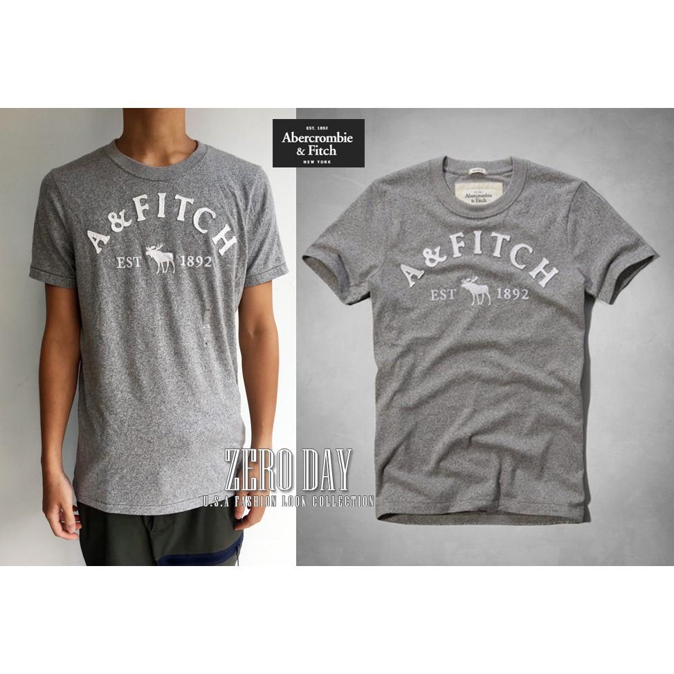 美國A&F真品Abercrombie&Fitch Buell Mountain Tee搶手麋鹿LOGO刺繡短袖T-灰色