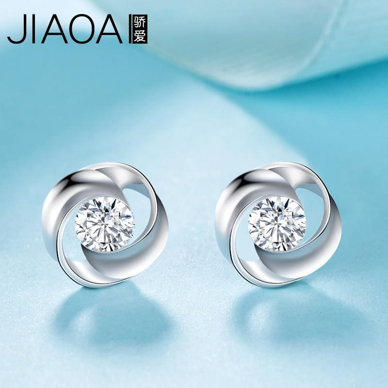 s925銀鑲嵌鋯石日韓版時尚花朵耳環小飾品個性小清新少女心耳釘