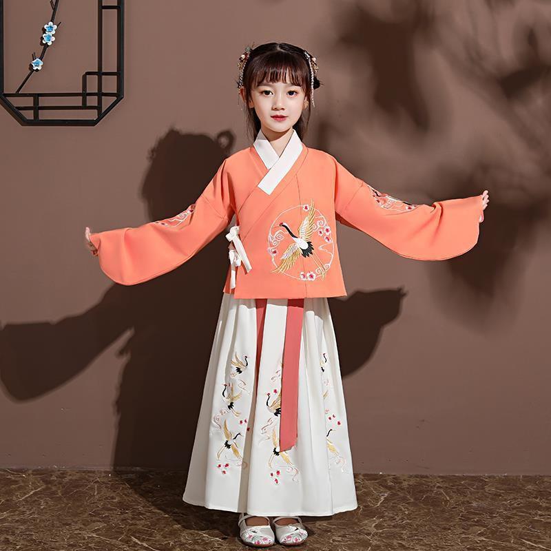 【兒童特色服】漢服女童秋裝兒童古裝套裝小女孩中國風改良明制襖裙超仙飄逸唐裝