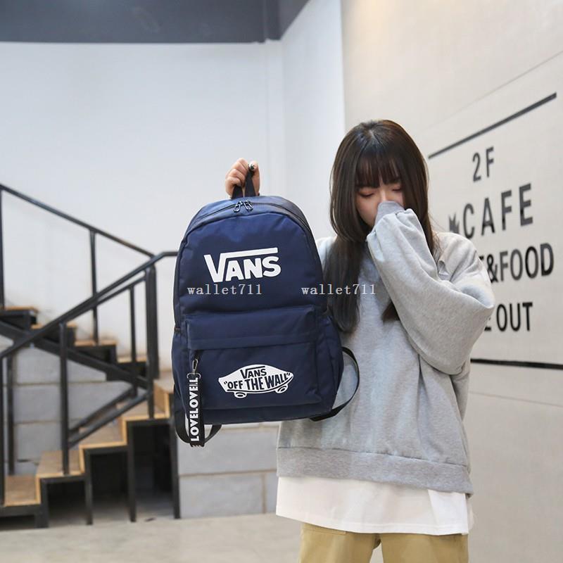 wallet711 Vans 後背包 書包帆布 素面 全黑 黑 後背包 背包 後背 書包 基本款 布包 黑白