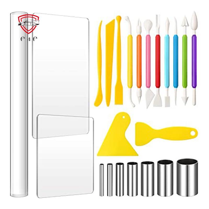 23件黏土DIY工具套裝,壓克力黏土輥,壓克力板,刮板背板,圓形切紙機