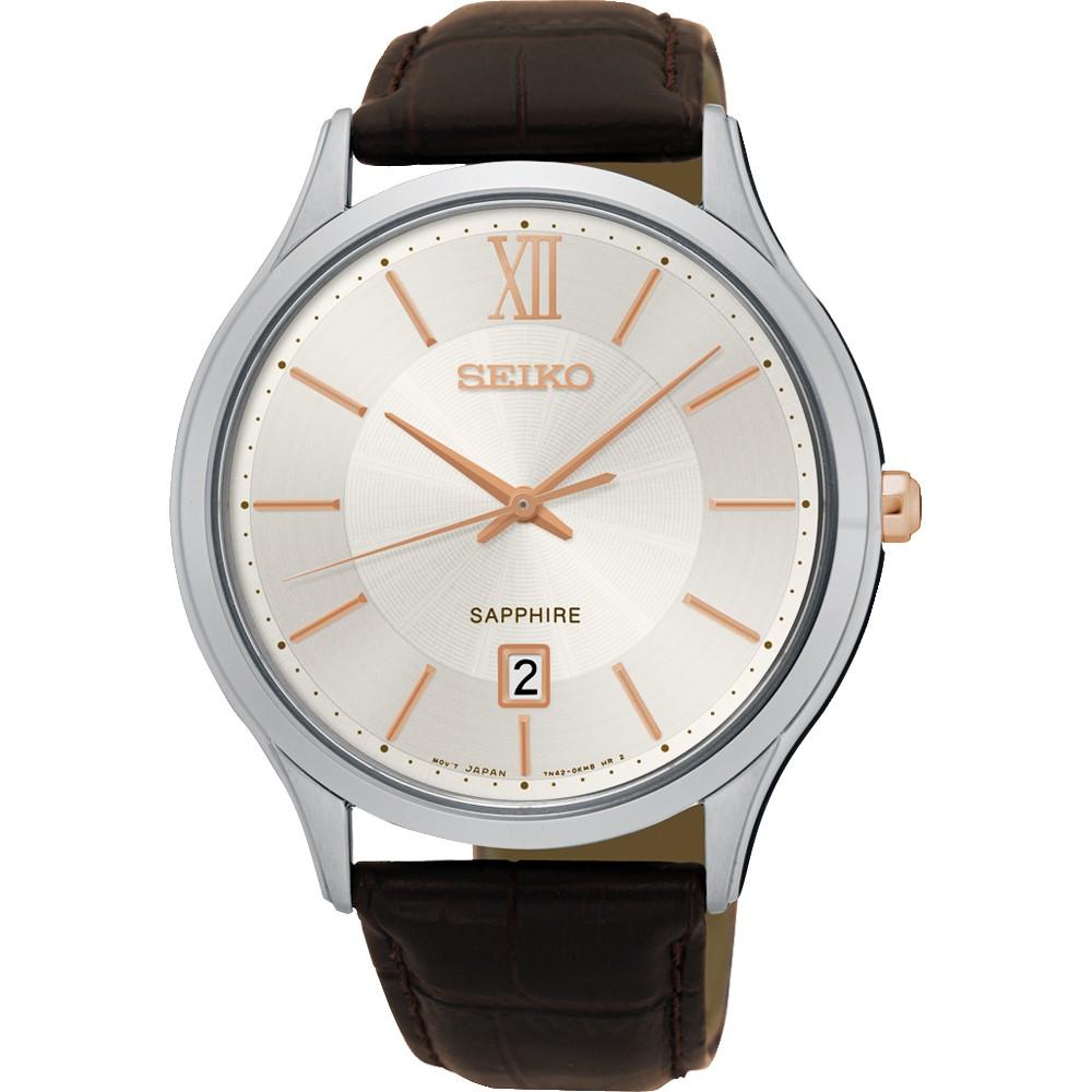【SEIKO 精工】城市簡約美學時尚腕錶-玫瑰金時標x咖啡/42mm(7N42-0GG0K SGEH55P1)