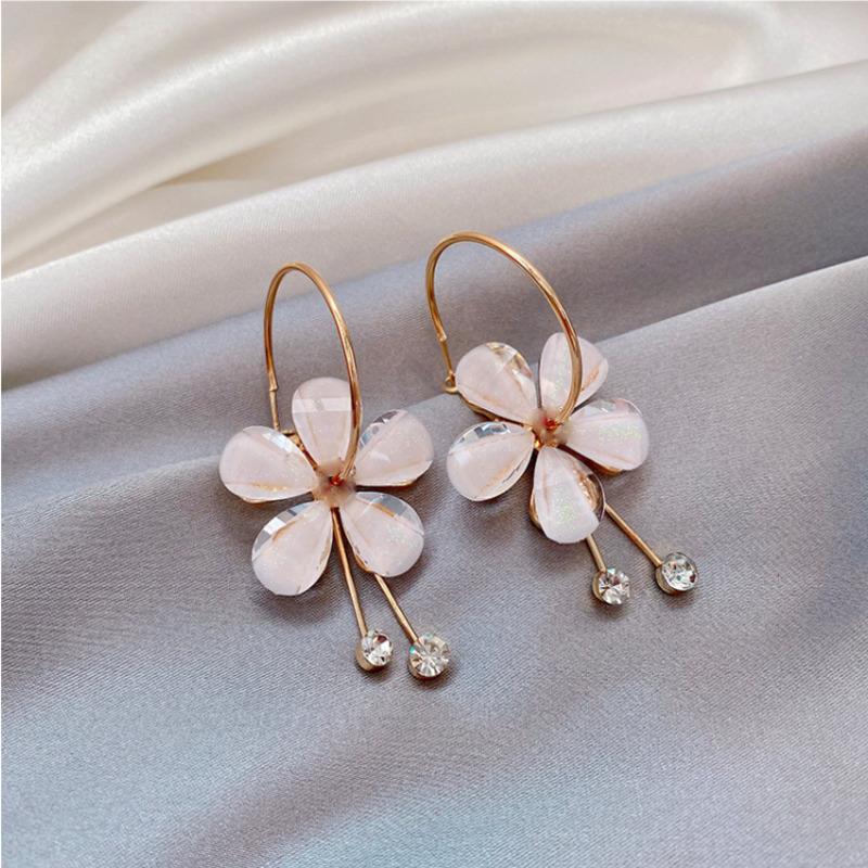 水晶花朵耳環 超仙氣質長款流蘇耳墜 少女亞克力個性耳釘 C446