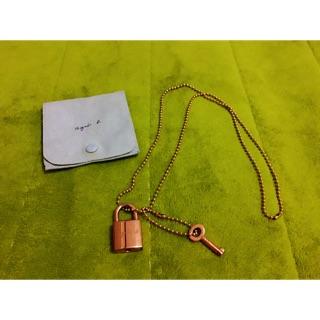 正品《Agnesb》經典款 鎖頭項鍊 造型飾品 「玫瑰金」附絨布袋 花蓮縣