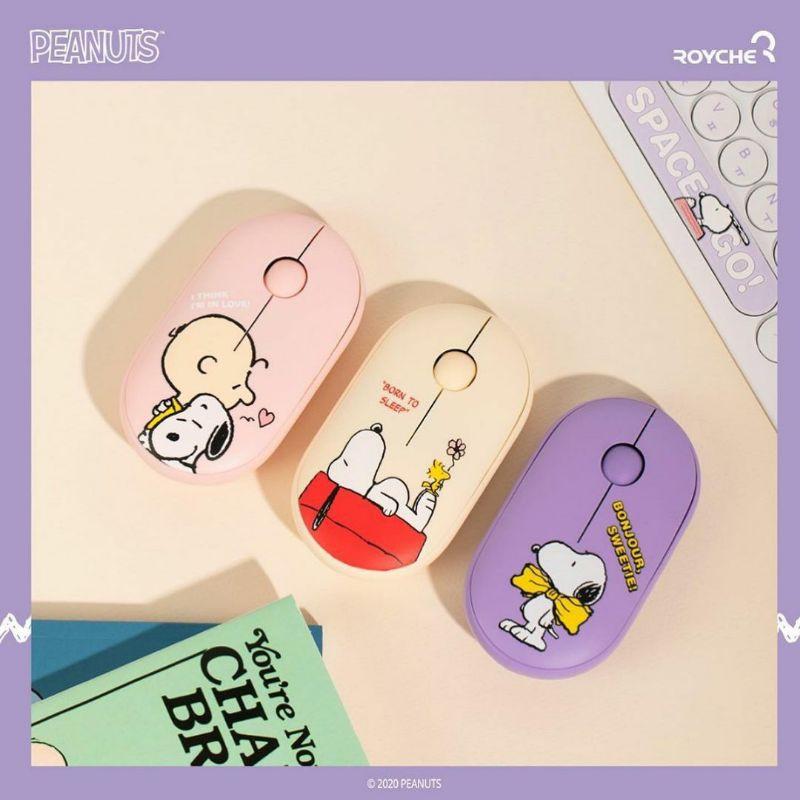 【YH韓國代購】ROYCHE x Peanuts 聯名 ⭐ Snoopy 史努比 靜音無線滑鼠 滑鼠墊