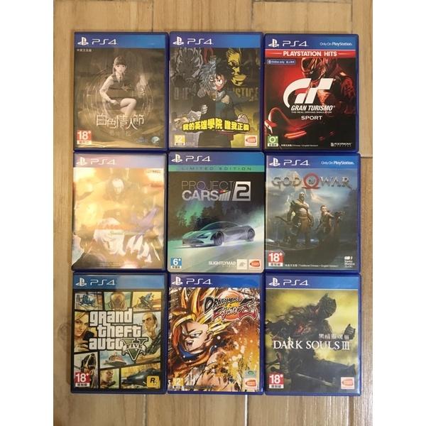 【二手遊戲】 Ps4 遊戲2手光碟無刮傷近全新(惡魔獵人4、戰神、賽車計畫2、黑暗靈魂3、GTA5)