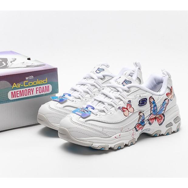 現貨 新款 Skechers D'lites 蝴蝶刺繡熊貓鞋 斯凱奇女鞋 運動鞋 厚底越野鞋 登山鞋 老爹鞋