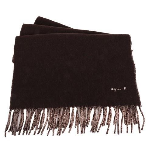 agnes b.-草寫繡字agnes b.素面流蘇圍巾/披巾(深咖x米)