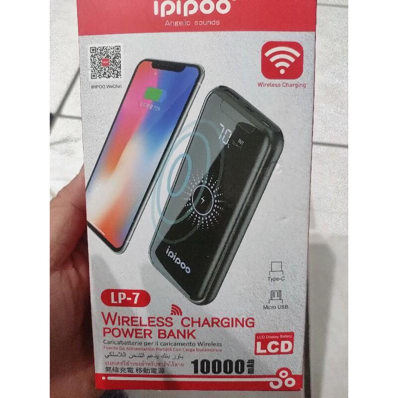 ipipoo  LP-7  品韵 Qi無線有線通用智能快速行動電源 10000mah 電量數字顯示 (黑色)  全新