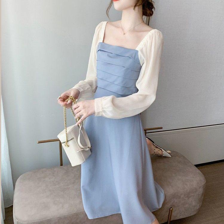 【小眾桔梗拼接大碼洋裝】春夏新款法式設計感初戀連衣裙女神范洋氣質長裙 rzpA