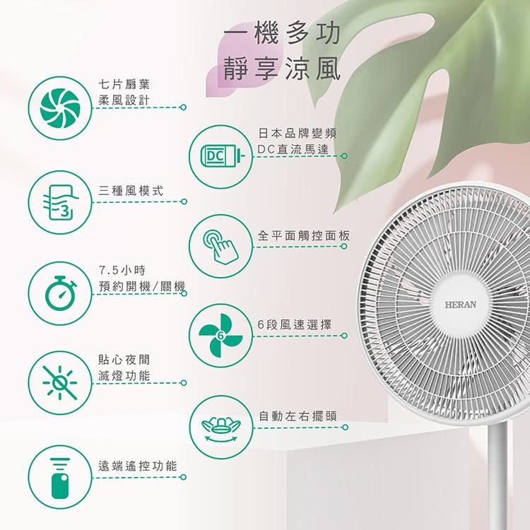 強強滾p-HERAN禾聯 電風扇 日本馬達14吋觸控 定時變頻7葉片 直流DC風扇 靜音節能 HDF-14A8NH