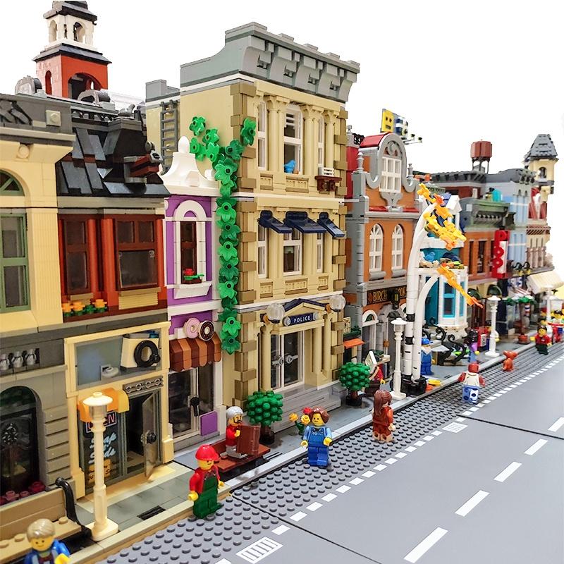 樂高積木城市街景系列全套警察局書店拼裝大型成年高難度玩具模型