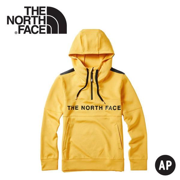 【The North Face 男 快乾保暖長袖帽T《黃》】46HC/長袖上衣/休閒長袖/連帽上衣