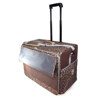 PARTY-FIVE 平拉式拉桿寵物包/  平拉式4輪拉桿寵物包/ 外出拉捍推車/ 外出旅行箱推車 豹紋款
