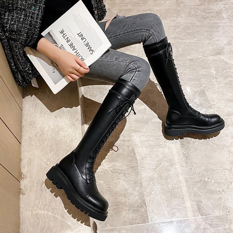 ♤現貨熱賣♤騎士靴女2020秋季新款長靴厚底長筒靴綁帶馬靴高筒靴女不過膝皮靴長靴英倫風騎士靴不掉筒顯瘦包肉神靴百搭高筒靴