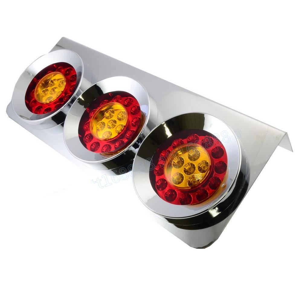 24v 電鍍三孔圓框尾燈 煞車燈 後燈 剎車燈 警示燈 車尾燈 方向燈 轉向燈 貨車 卡車 砂石車 拖板車 拖吊車